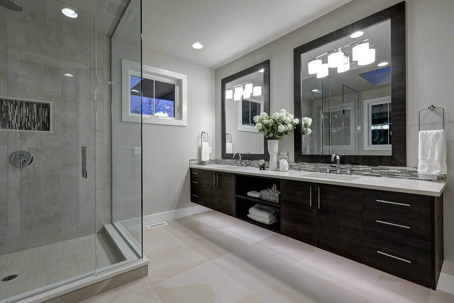 modern bathroom with glass doors