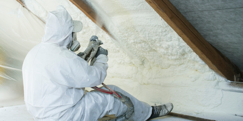 Spray Foam Insulation Contractor doing work